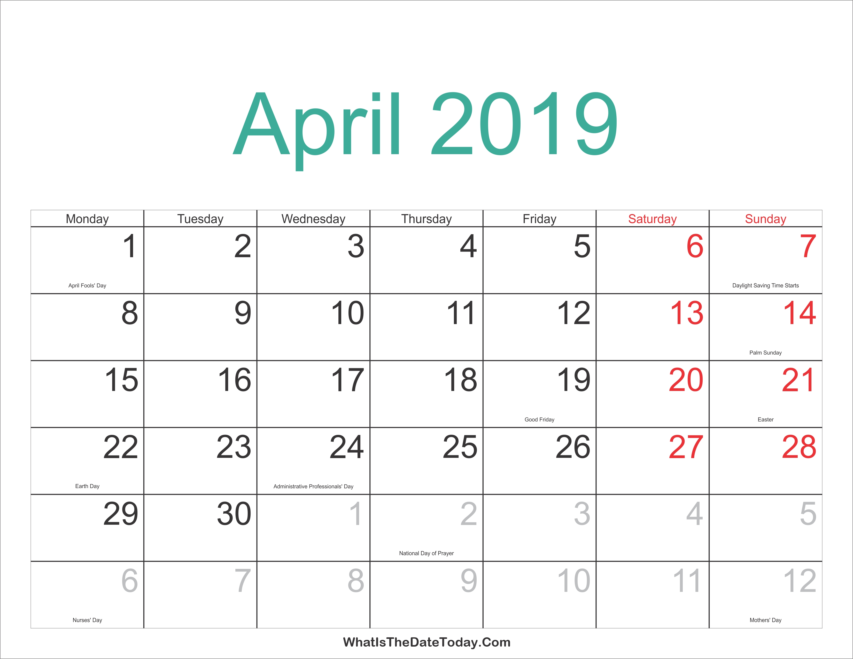 2018 2019 Calendar Free Printable Two Year Pdf Calendarsapril April 3 2019 Calendar