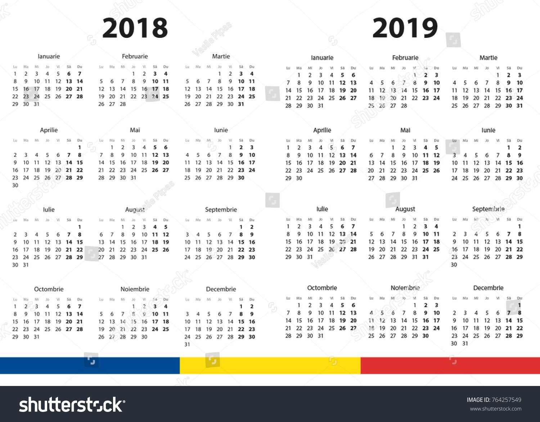 2018 2019 Calendar Stock Vector (Royalty Free) 764257549 – Shutterstock Calendar 2019 Romanesc