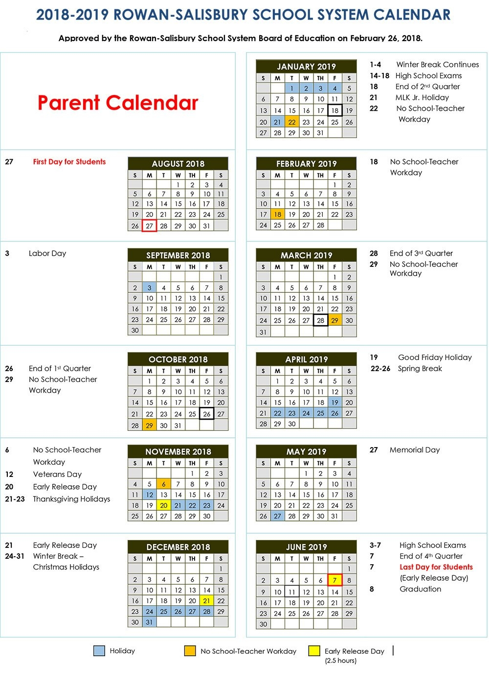 2018 2019 Calendars | District News School District 5 Calendar 2019
