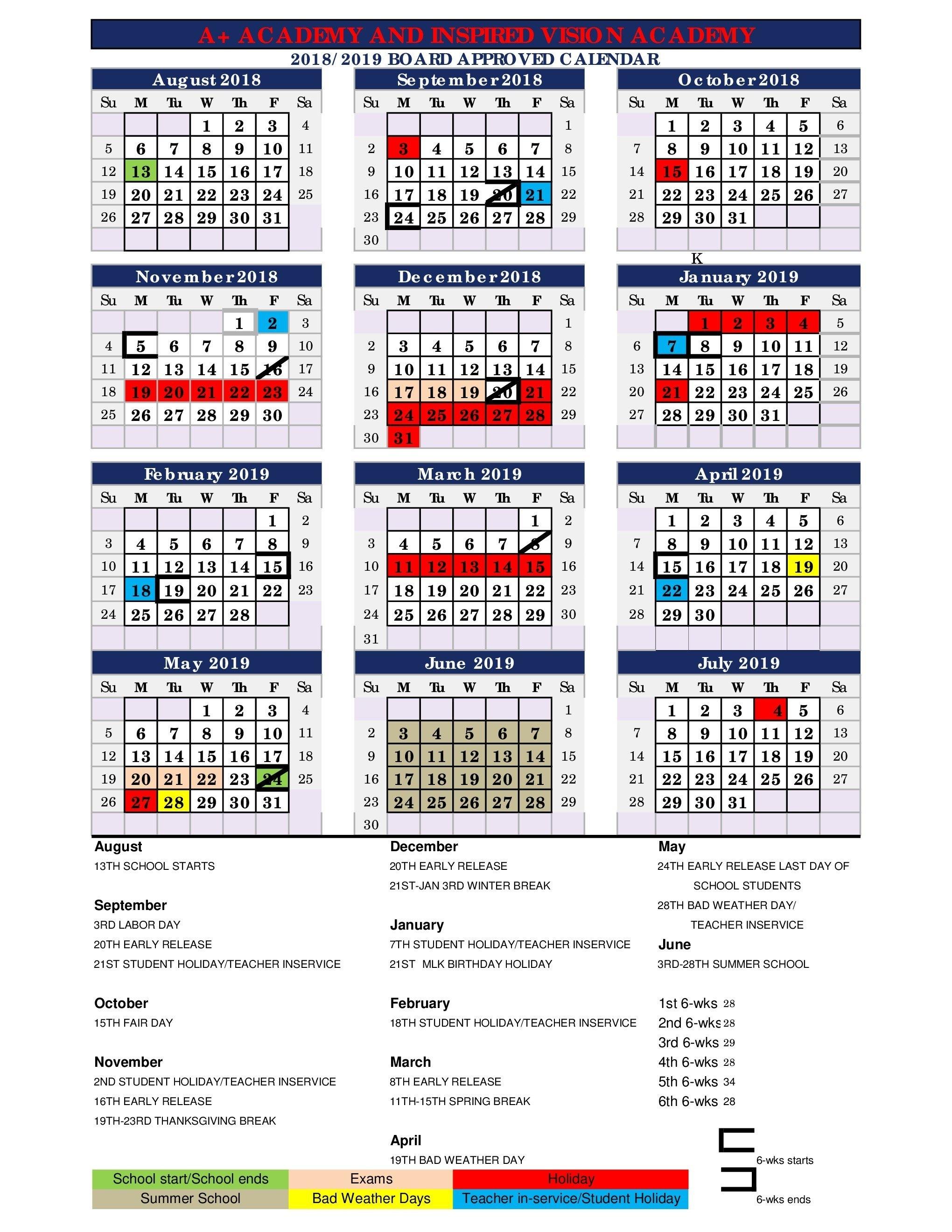 2018 – 2019 District Wide Calendar – About Us – A+ Academy Secondary 445 Calendar 2019