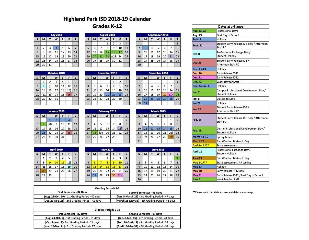 2018 2019 Hpisd Calendars – Calendars – Highland Park Independent K State Calendar Spring 2019