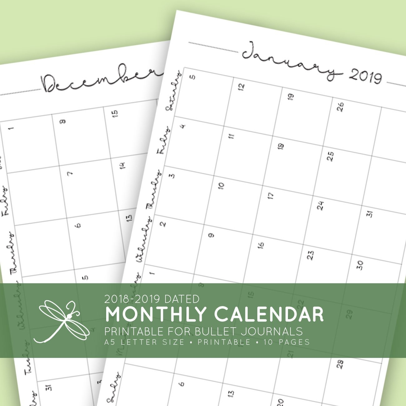 2018 + 2019 Monthly Printable Calendar | Laura Kinker – Designer 2019 Calendar 8.5 X 11 Printable