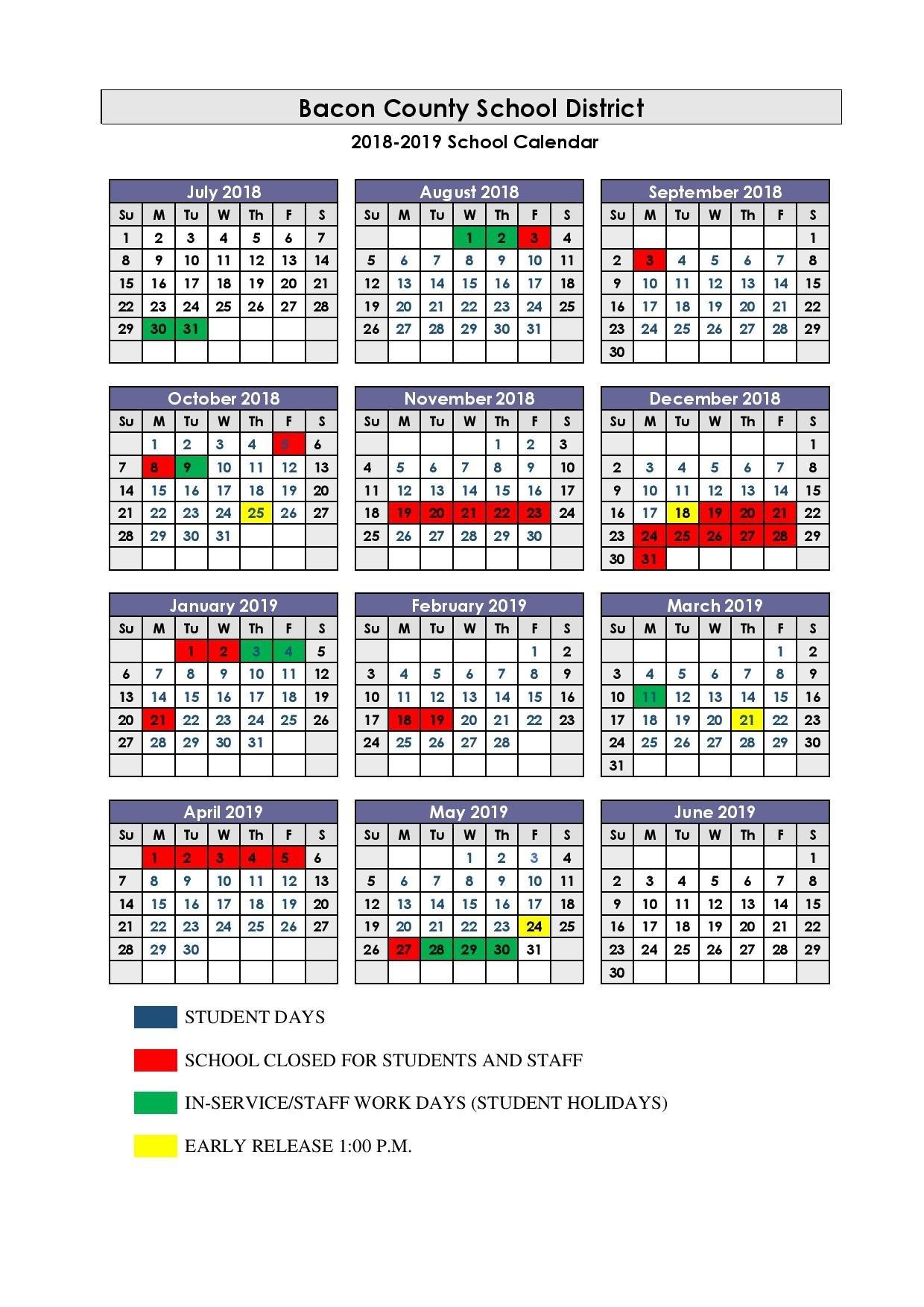 2018 2019 School Calendar 445 Calendar 2019