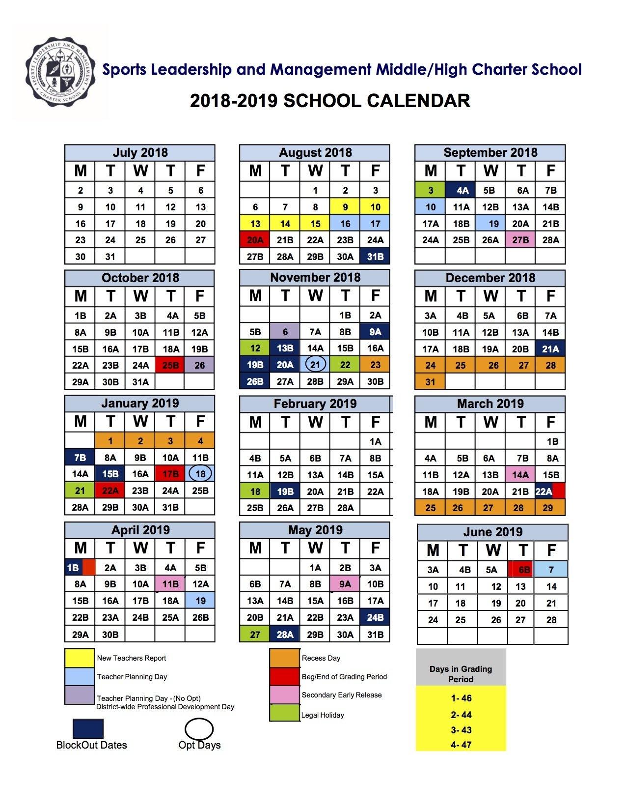 2018 2019 School Calendar Calendar 2019 Ke