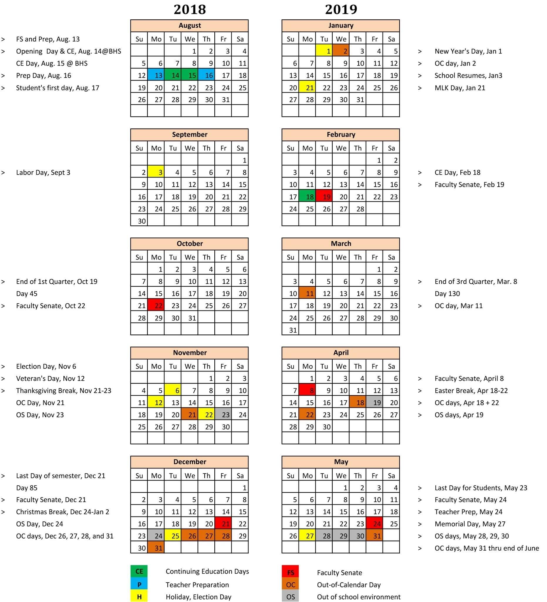 2018 2019 School Calendar Calendar 2019 School