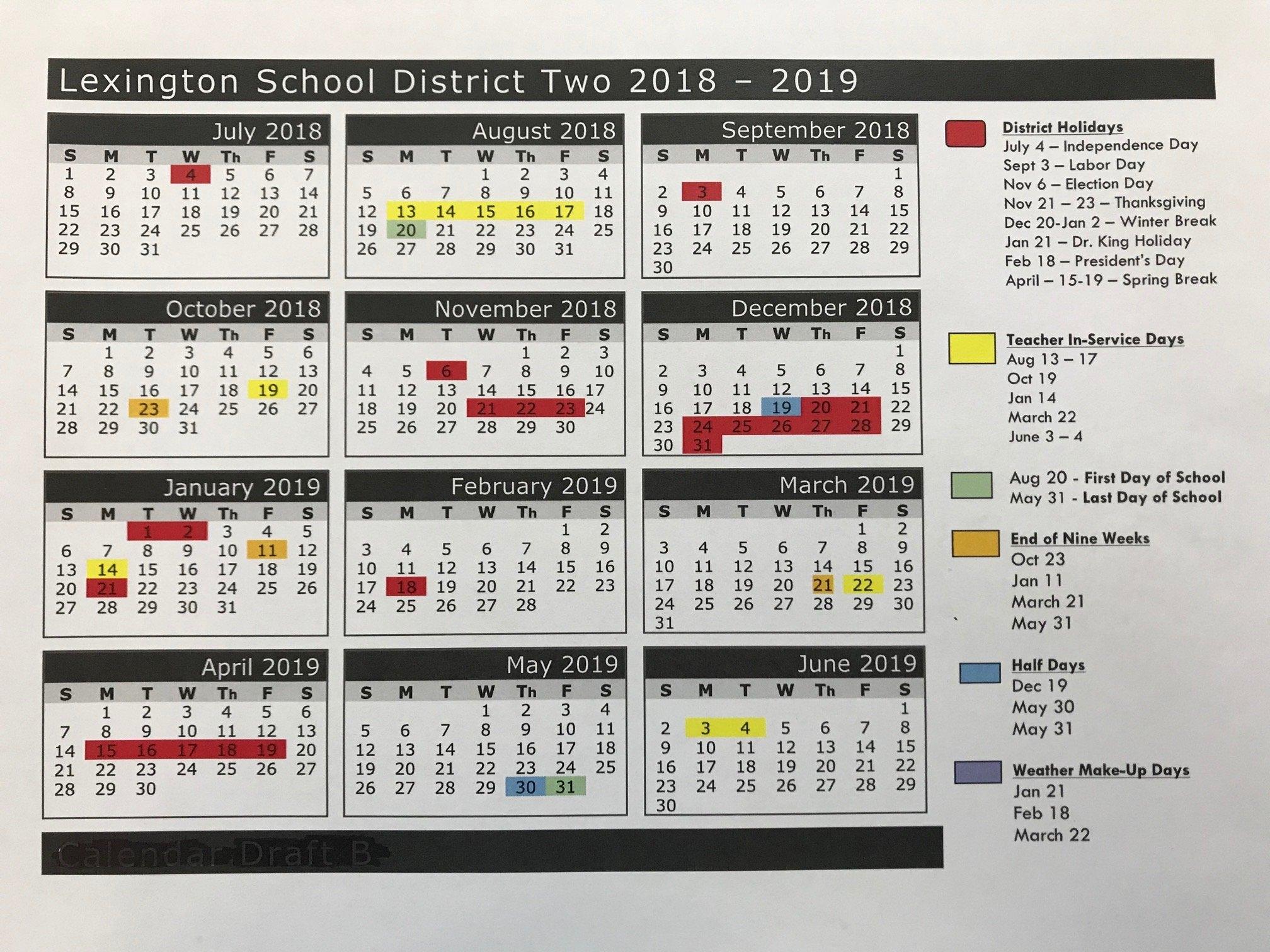 2018 2019 School Calendar – Parents – Airport High School Richland 2 Calendar 2019