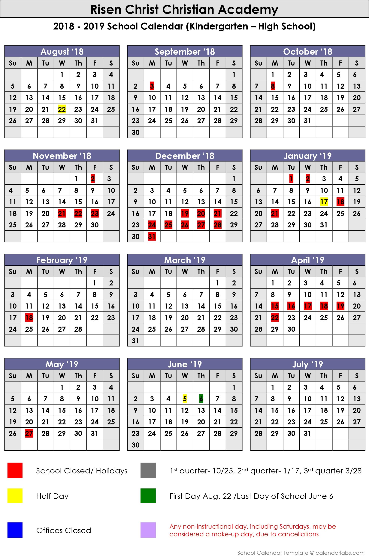 2018 2019 School Calendar – Risen Christ Christian Academy Calendar 2019 Christian
