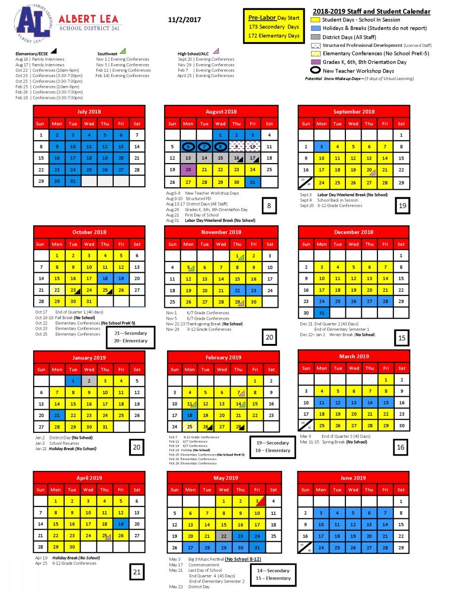 2018 2019 School Year Calendar | Albert Lea Area Schools Calendar 2019 Labor Day