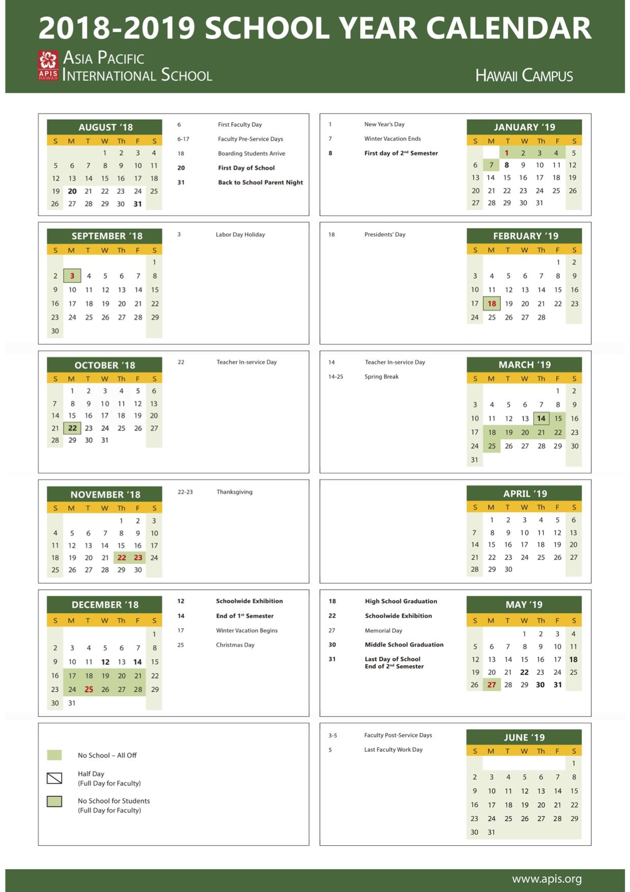 2018 2019 School Year Calendar Hawaii – Apis Calendar 2019 Hawaii
