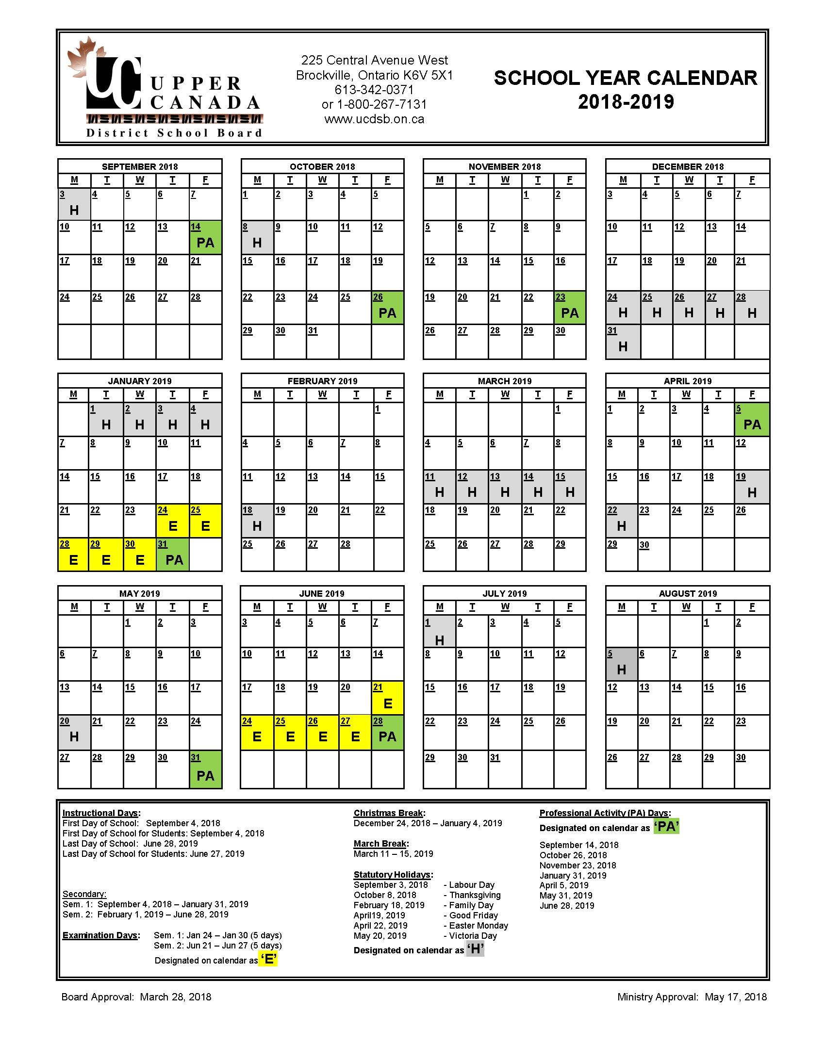 2018 2019 School Year Calendar – Upper Canada District School Board Calendar 2019 Qu