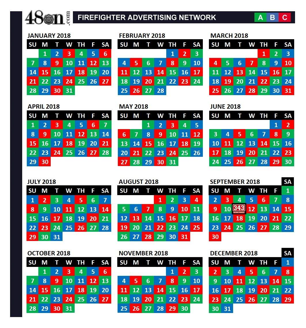 2018 Firefighter Shift Calendar – 48On – 48On 3 Shift Calendar 2019