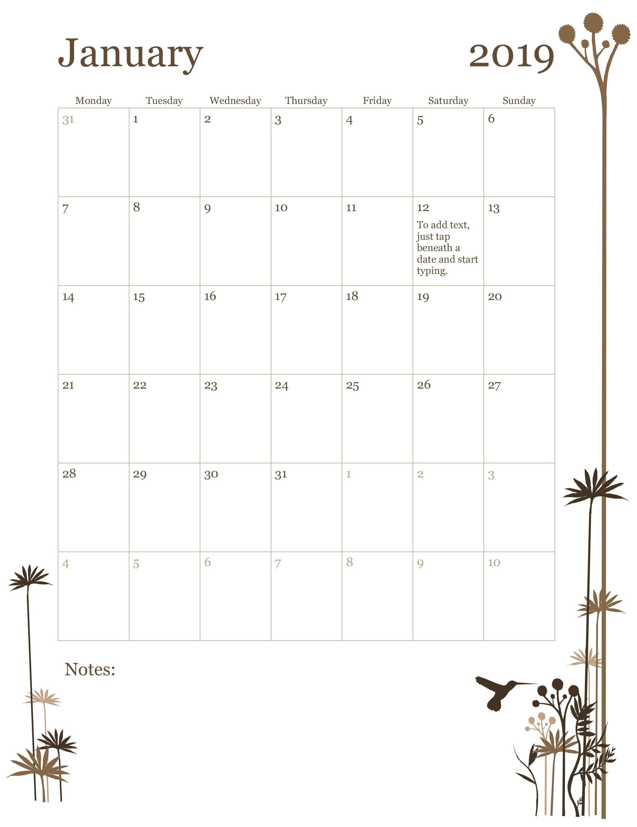 2019 12 Month Calendar (Mon Sun) Calendar 2019 By Month