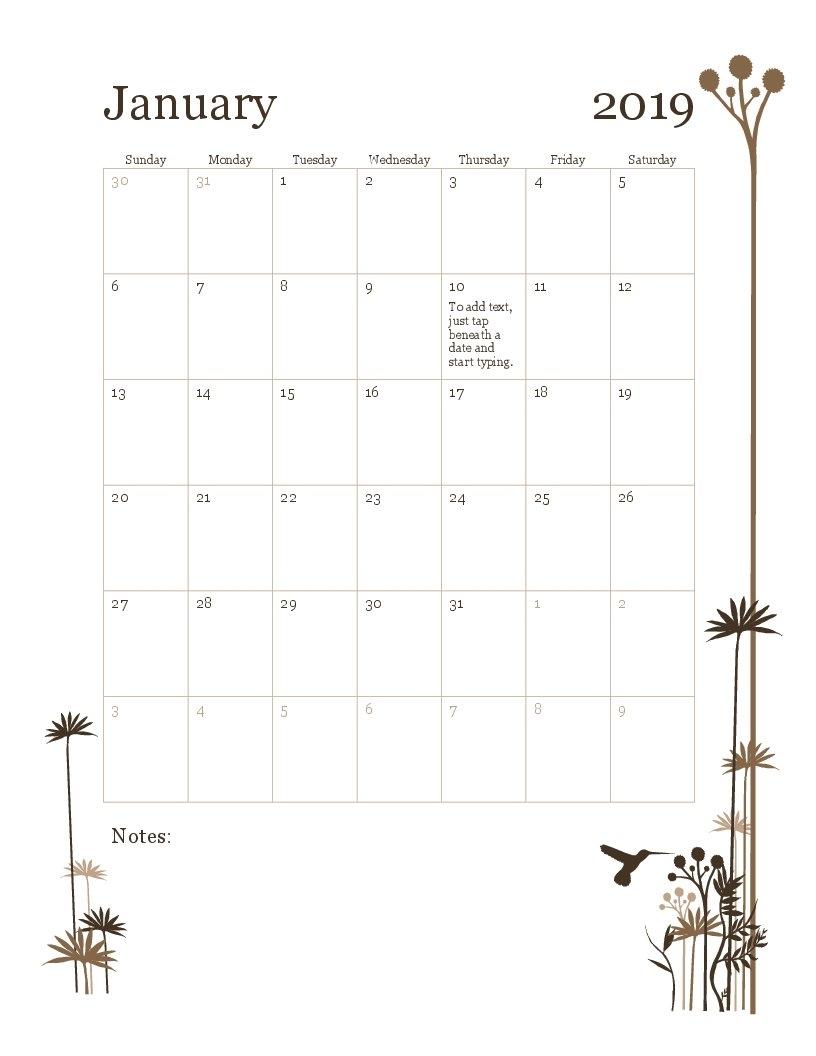 2019 12 Month Calendar (Sun Sat) Calendar 2019 By Month