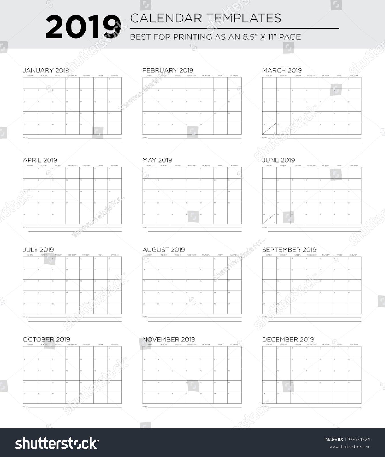 2019 12 Month Sans Serif Calendar Stock Vector (Royalty Free 2019 Calendar 8.5 X 11