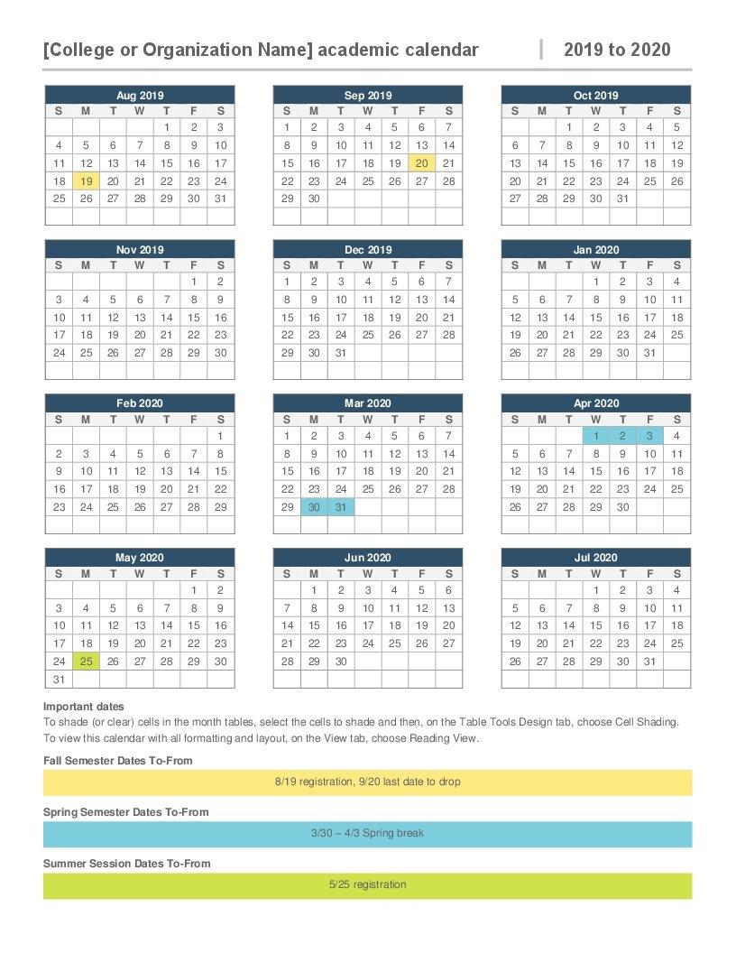 2019 2020 Academic Calendar Calendar 2019 Picture