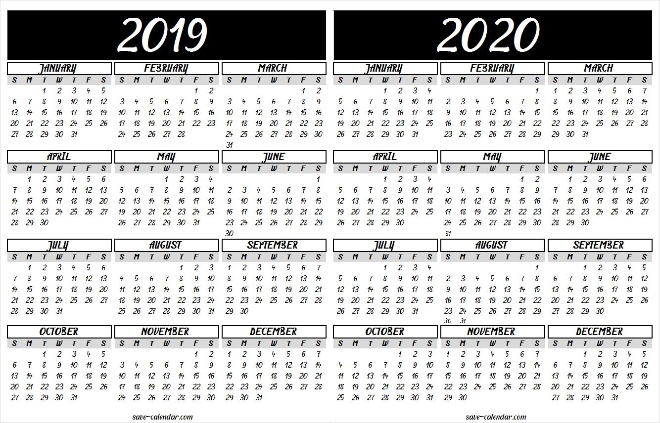 2019 2020 Calendar Printable | 2019 Calendar | Pinterest | Calendar 2019 Calendar 2020 Printable