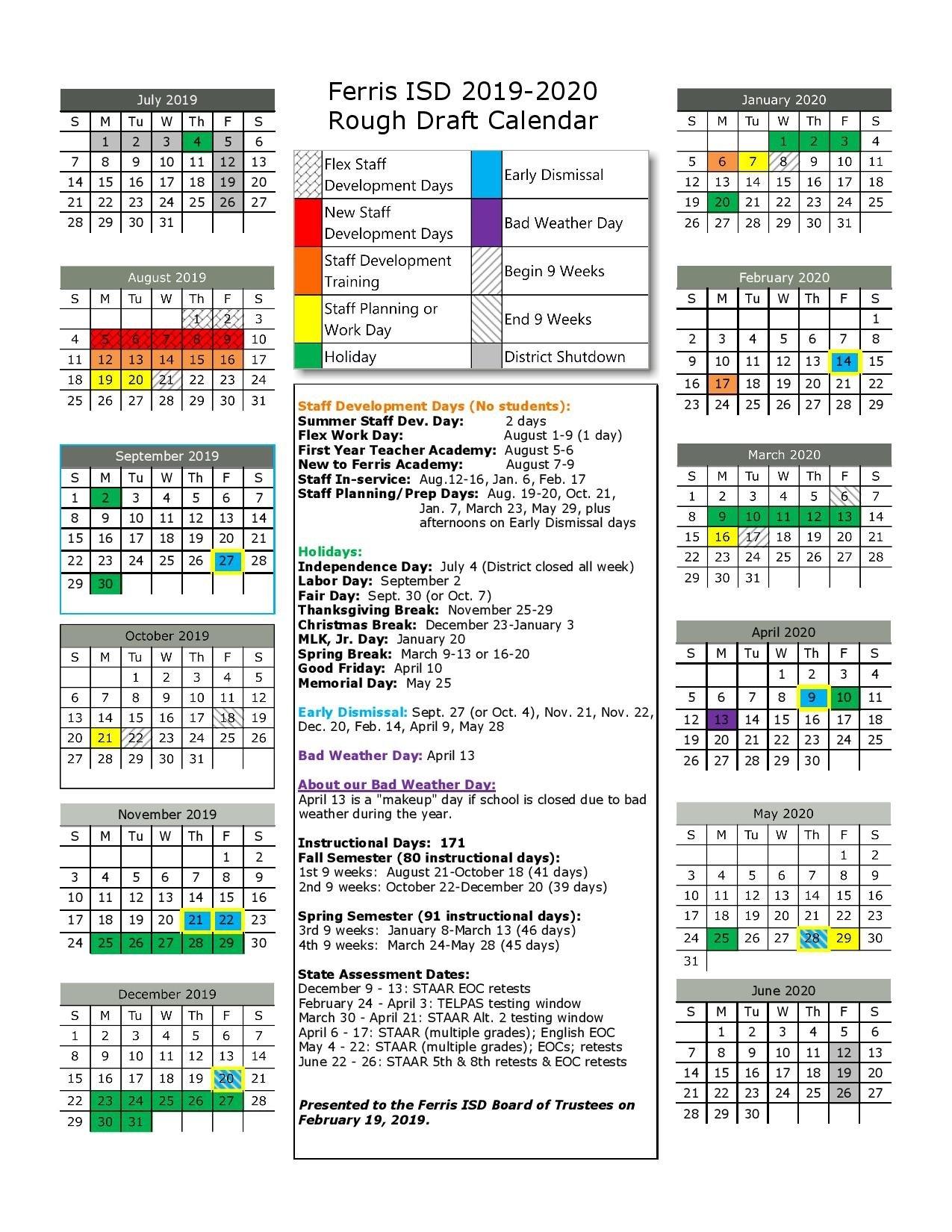 2019 2020 Proposed Calendar – Ferris Independent School District 9 Lives Calendar 2019