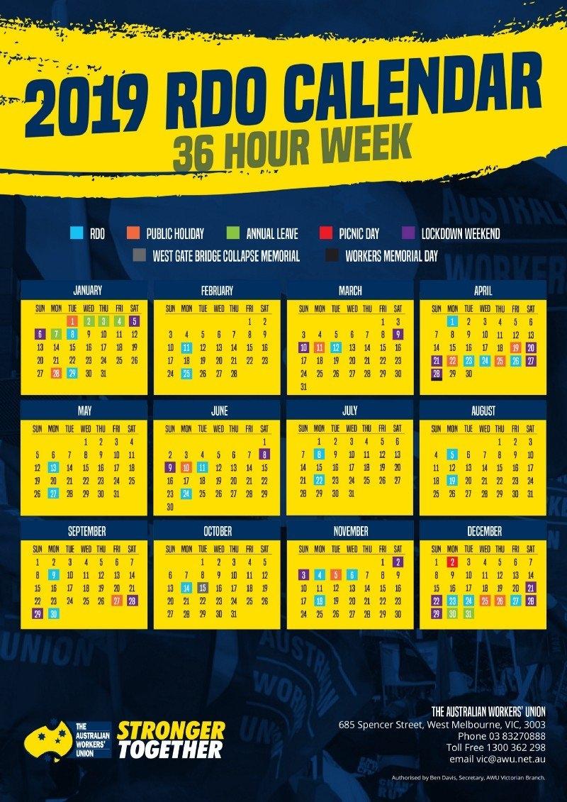 2019 36 And 38 Hour Week Rdo Calendars   Awu Victoria Calendar Week 36 2019