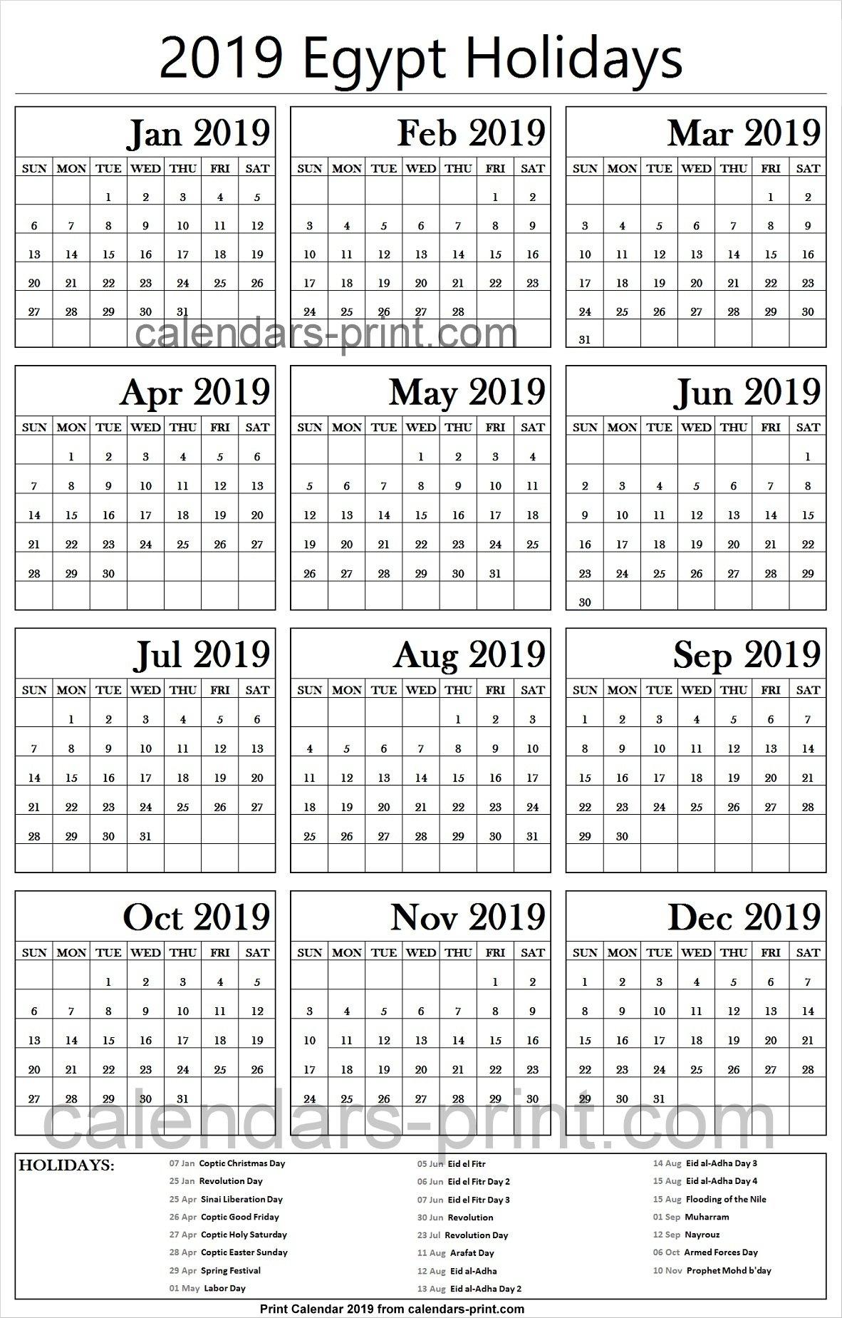 2019 Bank Holidays Egypt Calendar | 2019 Egypt Calendar Template Calendar 2019 Bank Holidays