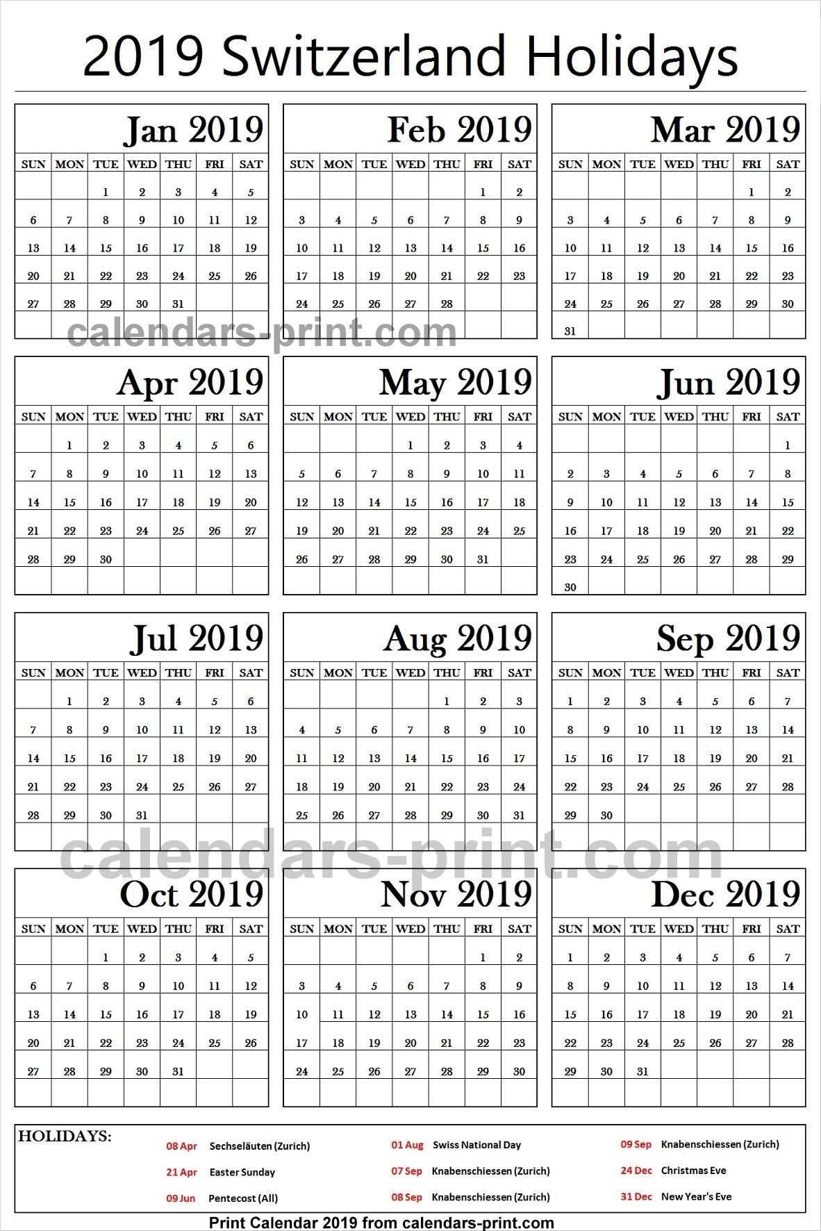 2019 Bank Holidays Switzerland Calendar | 2019 Switzerland Calendar Calendar Zurich 2019