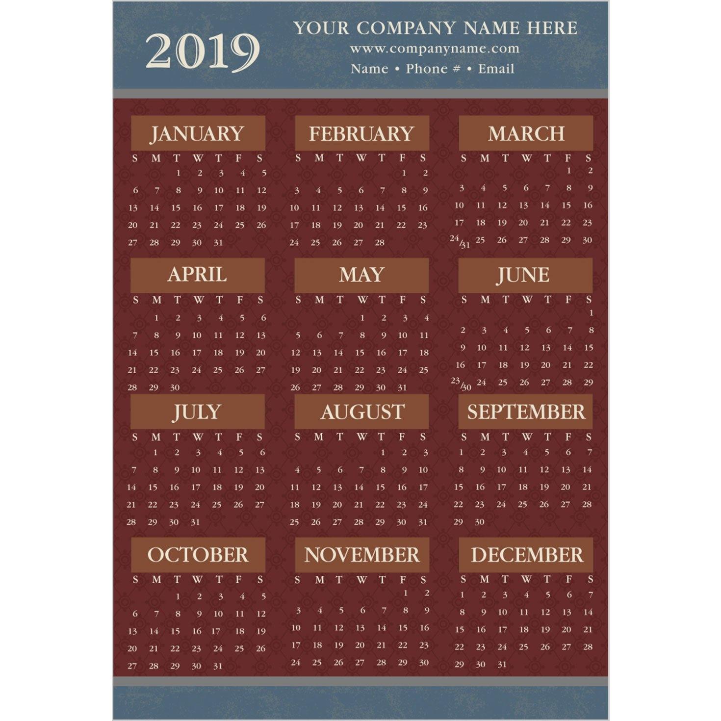 2019 Brick Red On Blue Paper Calendar Card Maroon 5 Calendar 2019