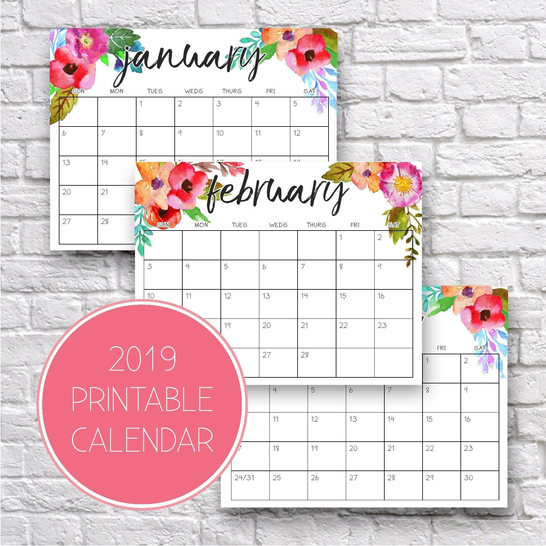 2019 Calendar 2019 Monthly Calendar Monthly Organizer 2019   Etsy C&k Calendar 2019