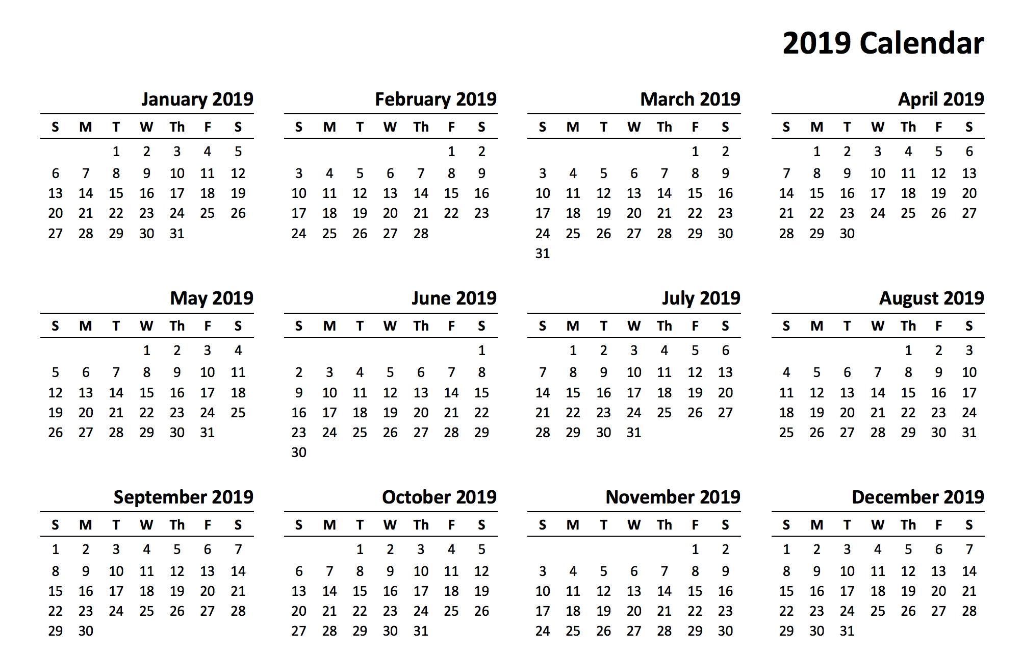 2019 Calendar – Amazonaws Calendar 2019 Print