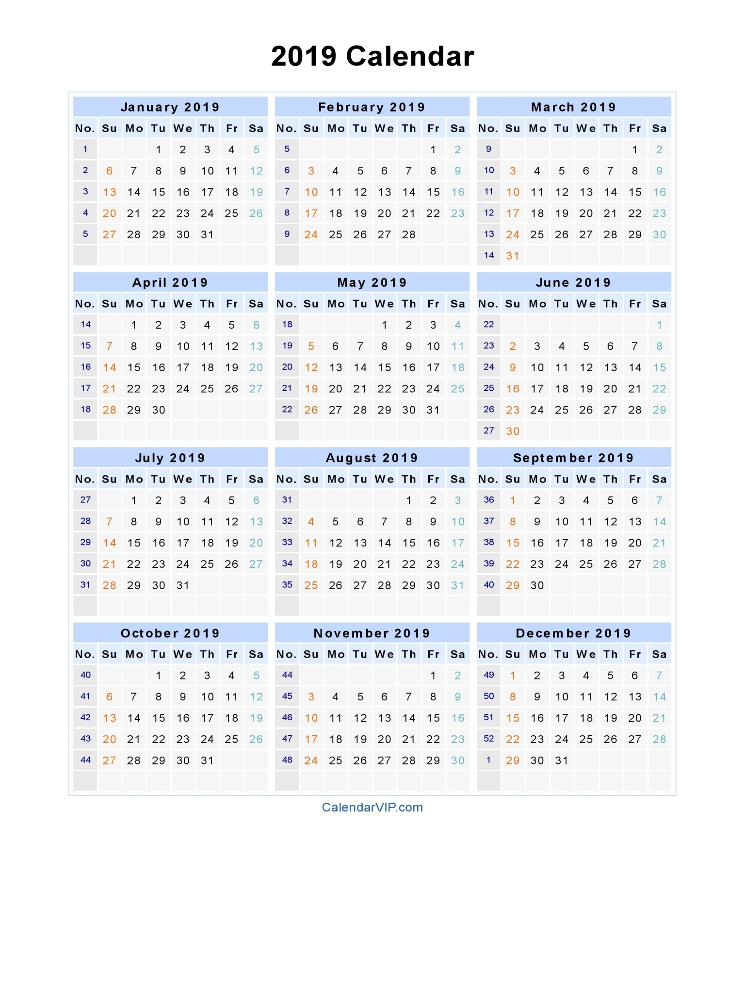 2019 Calendar – Blank Printable Calendar Template In Pdf Word Excel Calendar 2019 Excel By Week