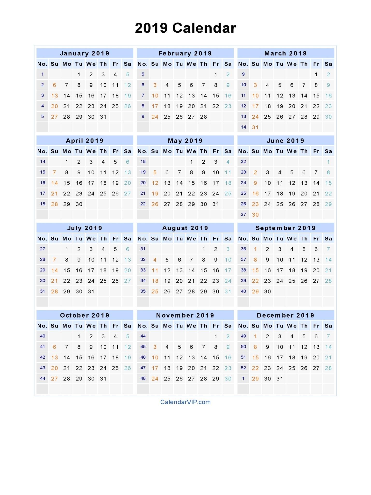 2019 Calendar – Blank Printable Calendar Template In Pdf Word Excel Calendar 2019 In Weeks