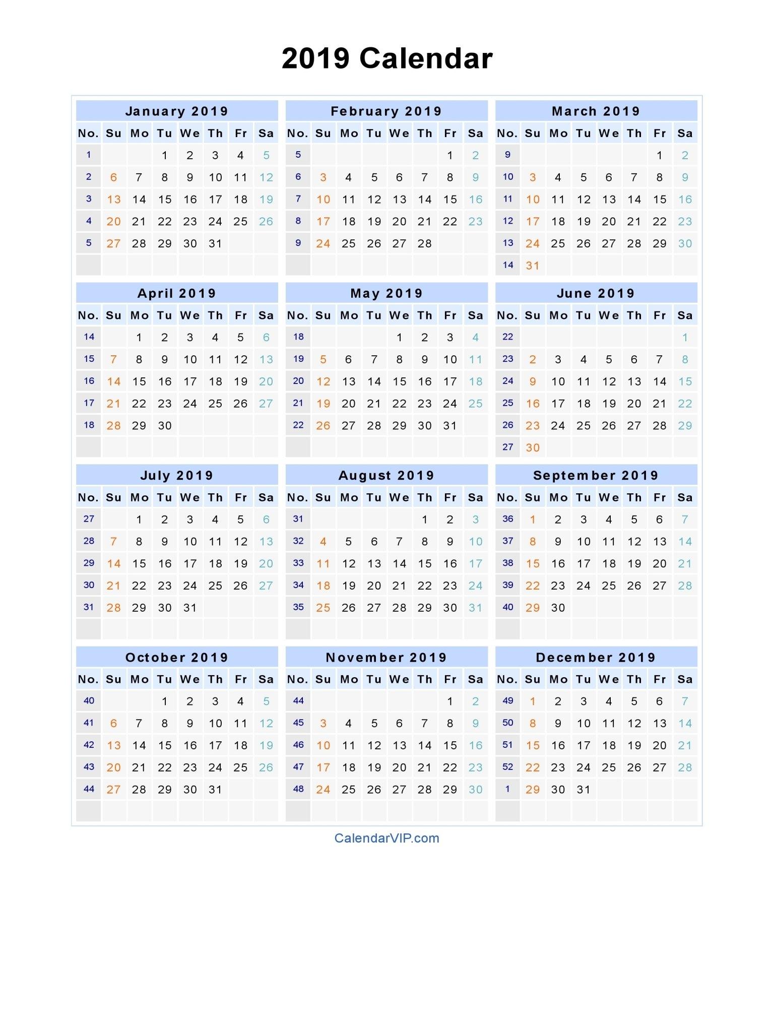 2019 Calendar – Blank Printable Calendar Template In Pdf Word Excel Calendar 2019 Microsoft