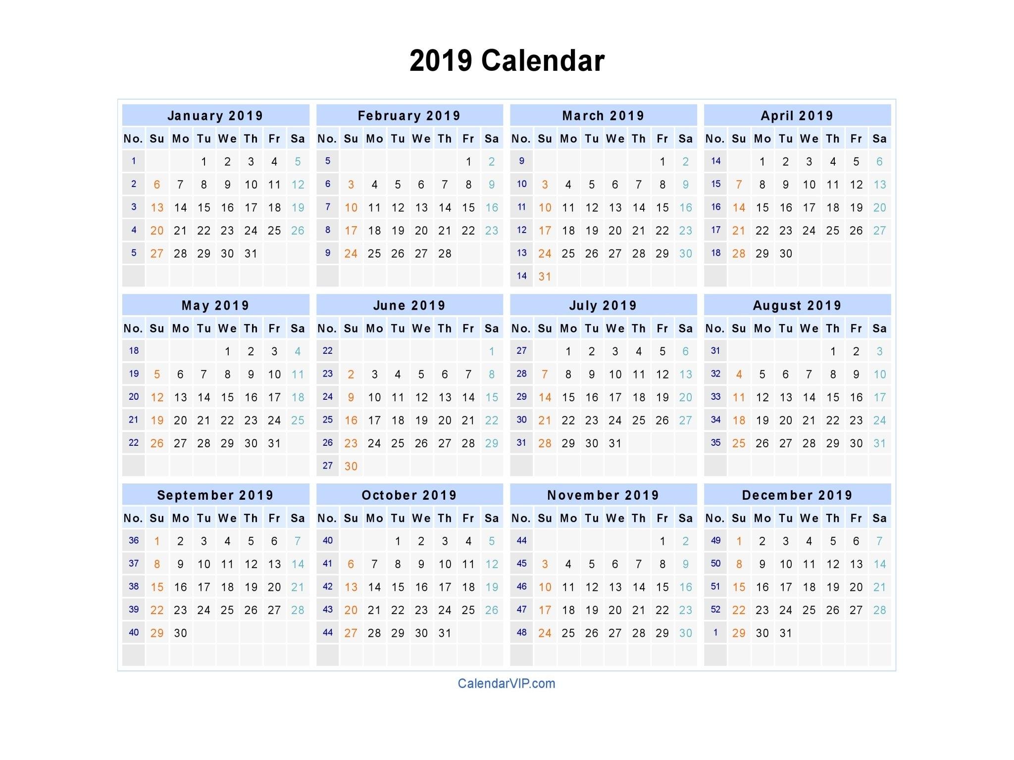 2019 Calendar – Blank Printable Calendar Template In Pdf Word Excel Calendar Week 12 2019