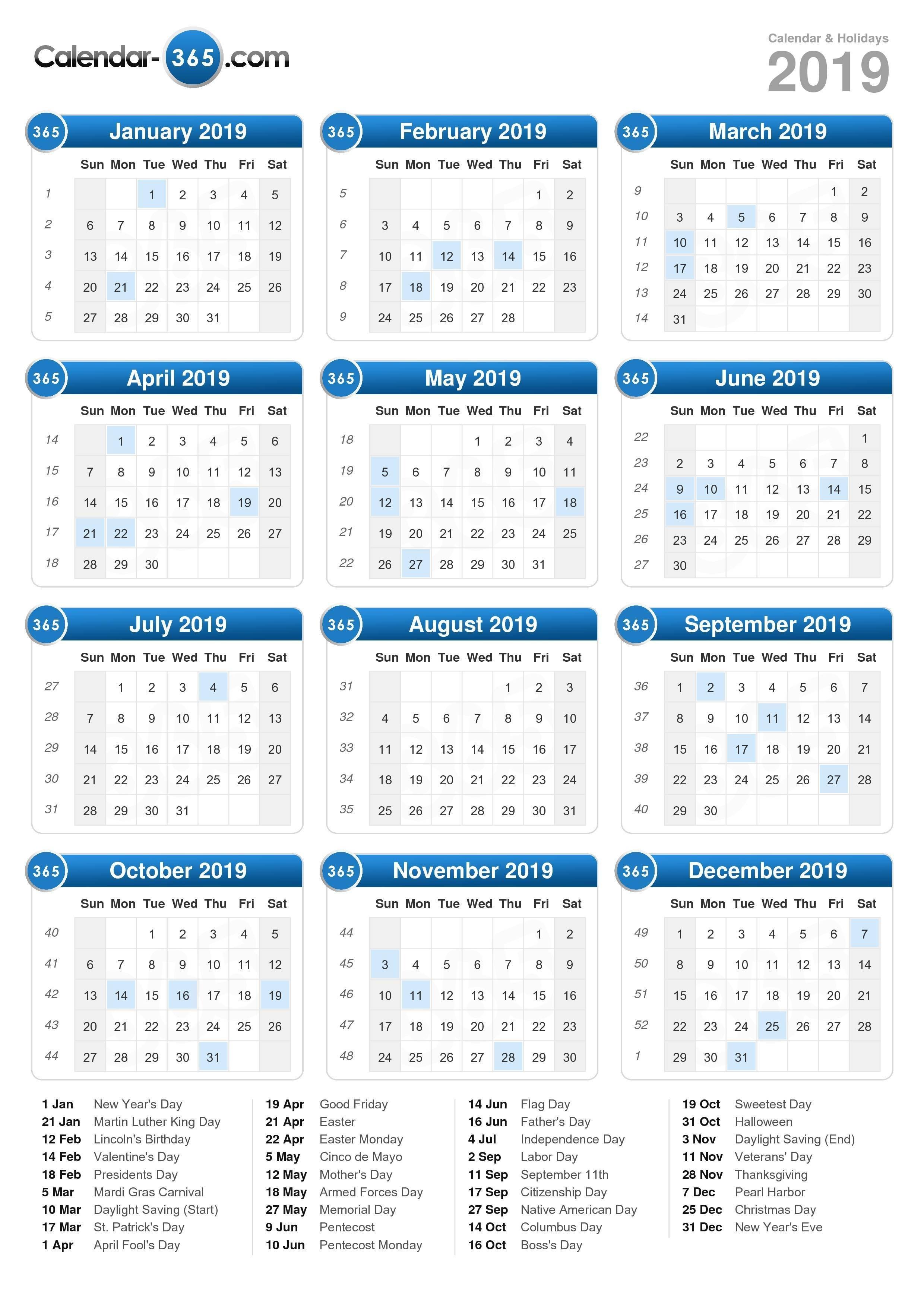 2019 Calendar Calendar 2019 List Of Holidays