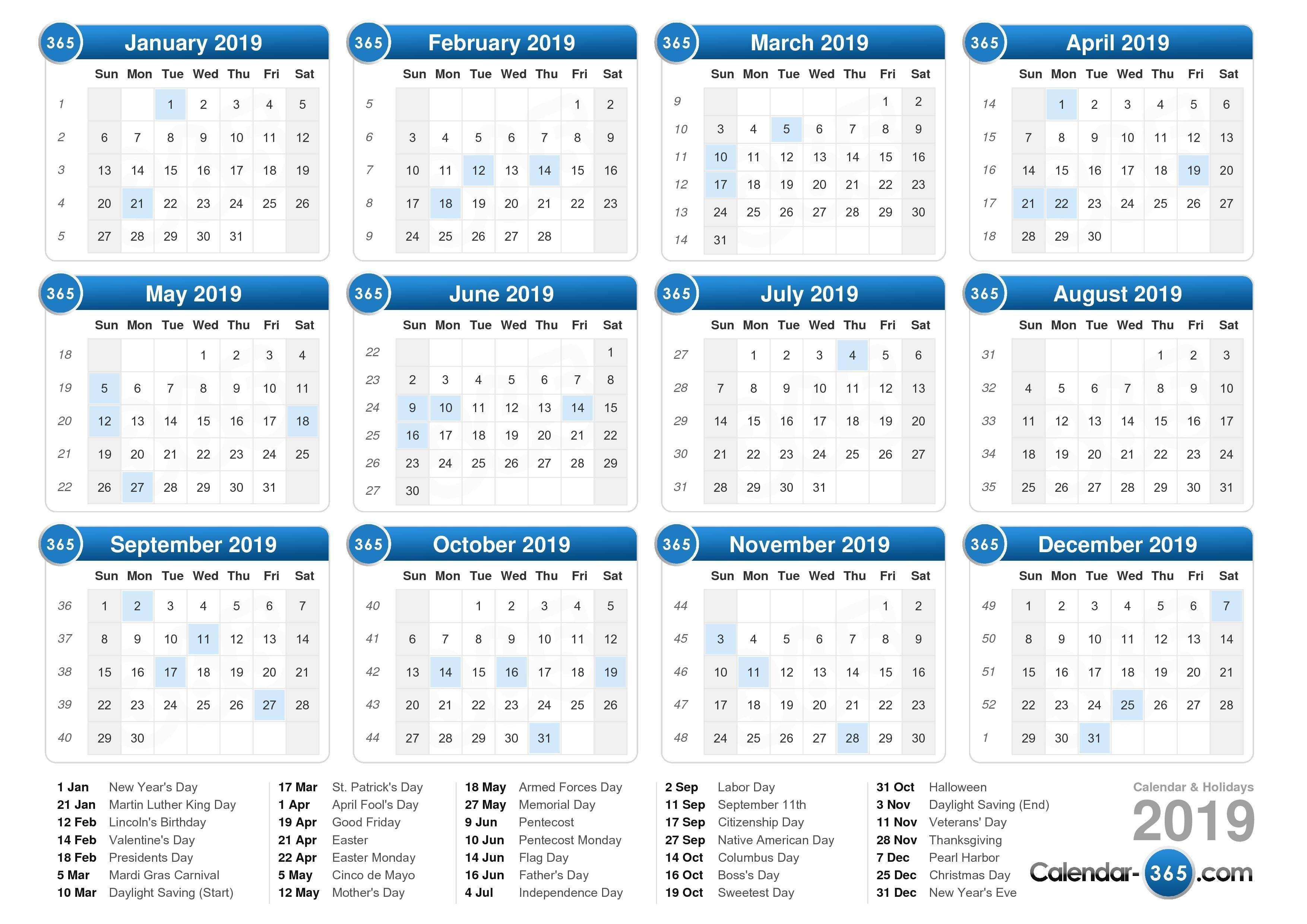 2019 Calendar Calendar 2019 Showing Holidays