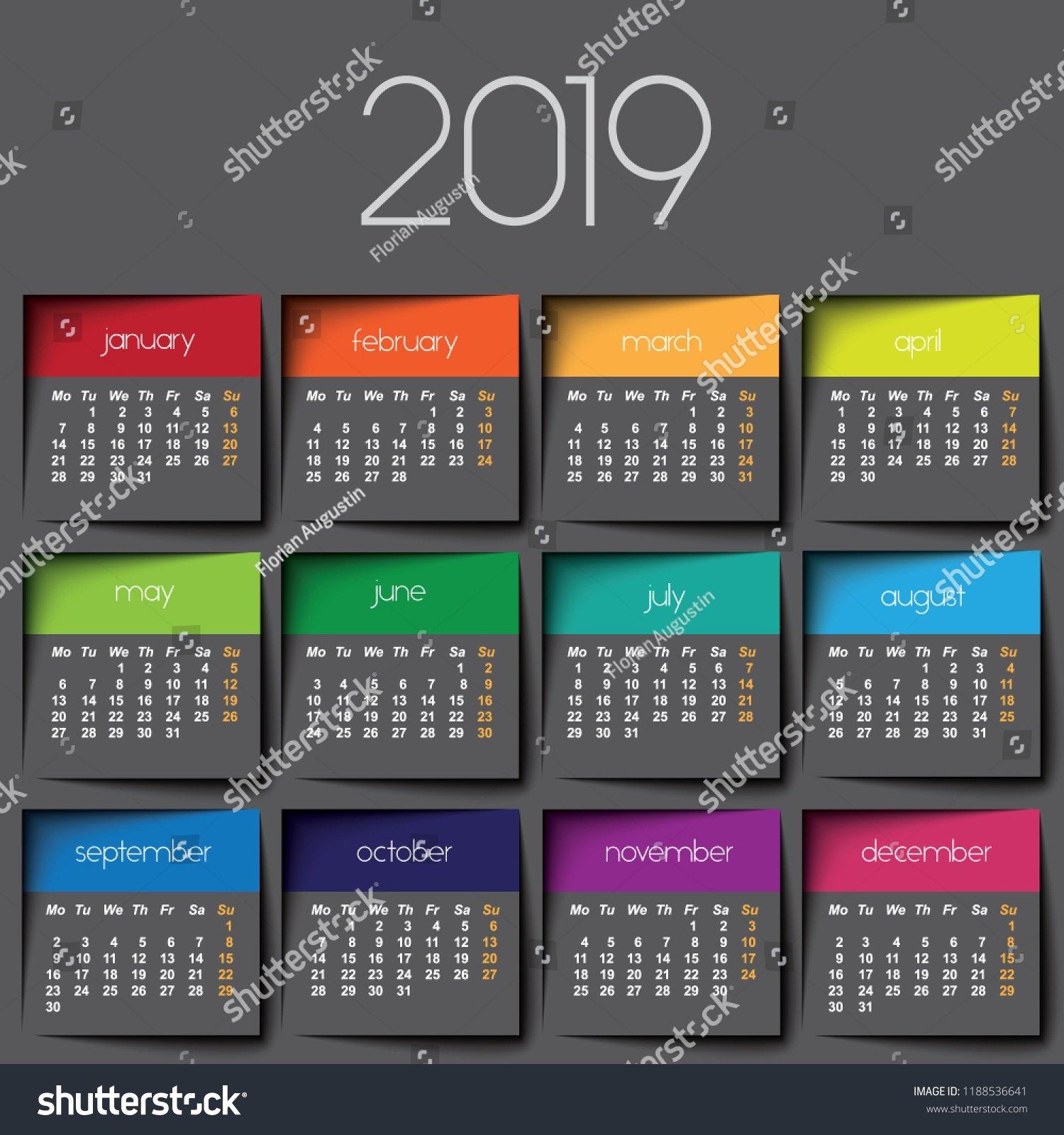 2019 Calendar Color Post Stock Vector (Royalty Free) 1188536641 J 2019 Calendar