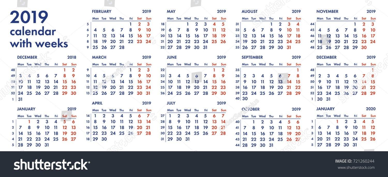 2019 Calendar Grid Weeks Numbers Vector Stock Vector (Royalty Free Calendar 2019 In Weeks
