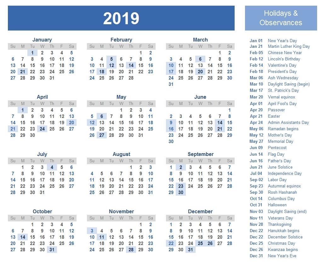 2019 Calendar Holidays | 2019 Calendar Holidays | Pinterest Calendar 2019 Holidays List