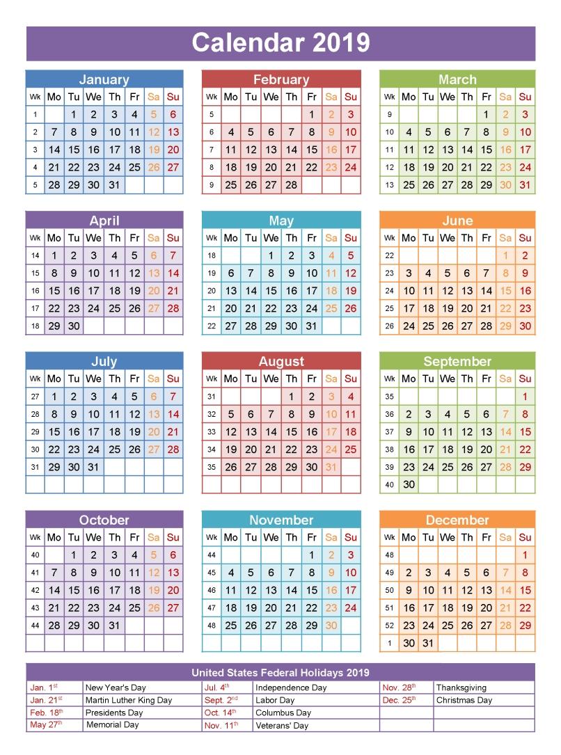 2019 Calendar Holidays | تقويم | Pinterest | Calendar, 2019 Calendar Calendar 2019 With Holidays