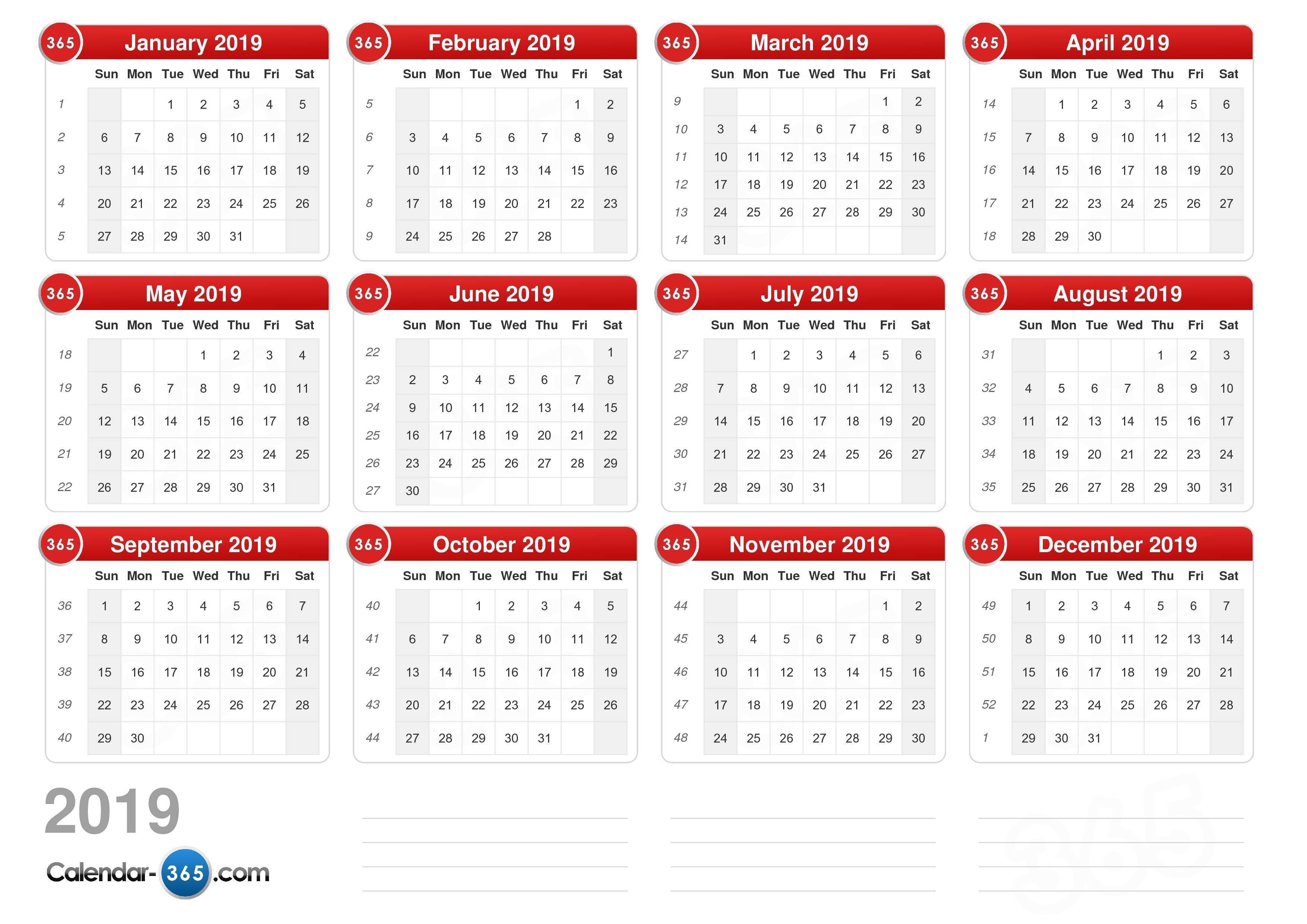 2019 Calendar January 2019 Calendar 365