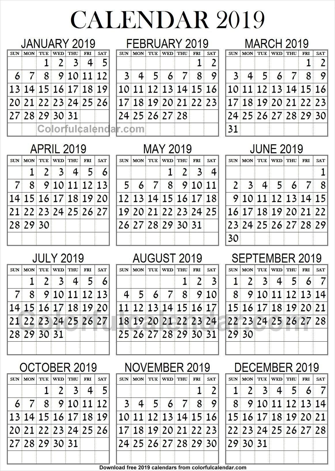 2019 Calendar Large Print | 2019 Yearly Calendars | Calendar, 2019 Calendar 2019 Large Print