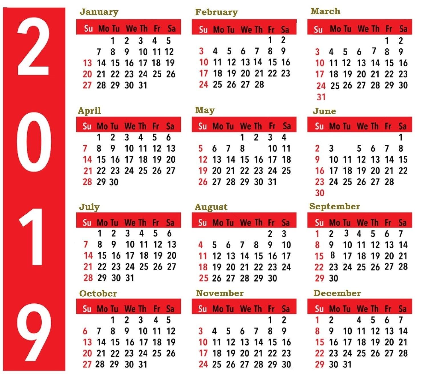 2019 Calendar Large Print – Free Calendar Templates & Worksheets For Calendar 2019 Large Print