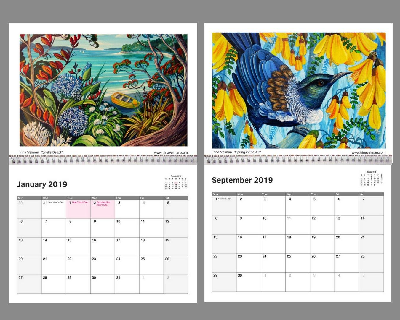 2019 Calendar  Nz Artist Irina Velman | Felt Calendar 2019 Artist