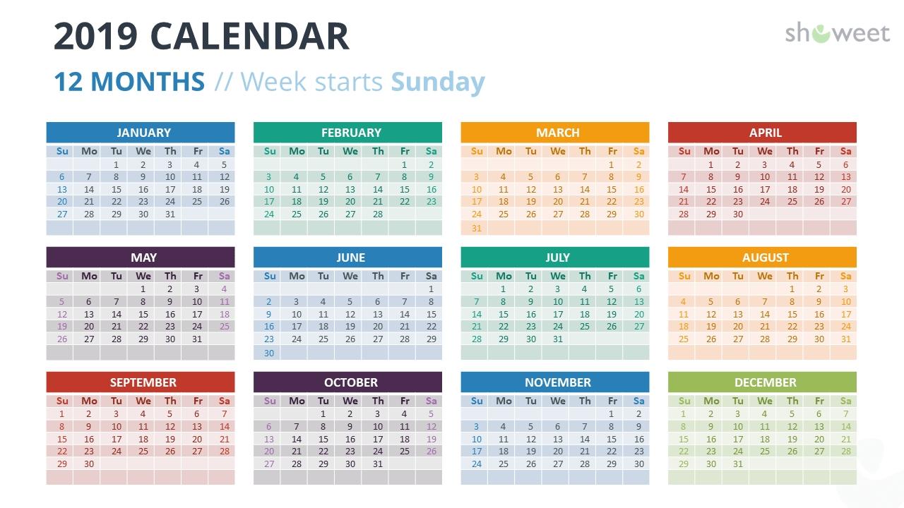 2019 Calendar Powerpoint Templates 4 Week Period Calendar 2019