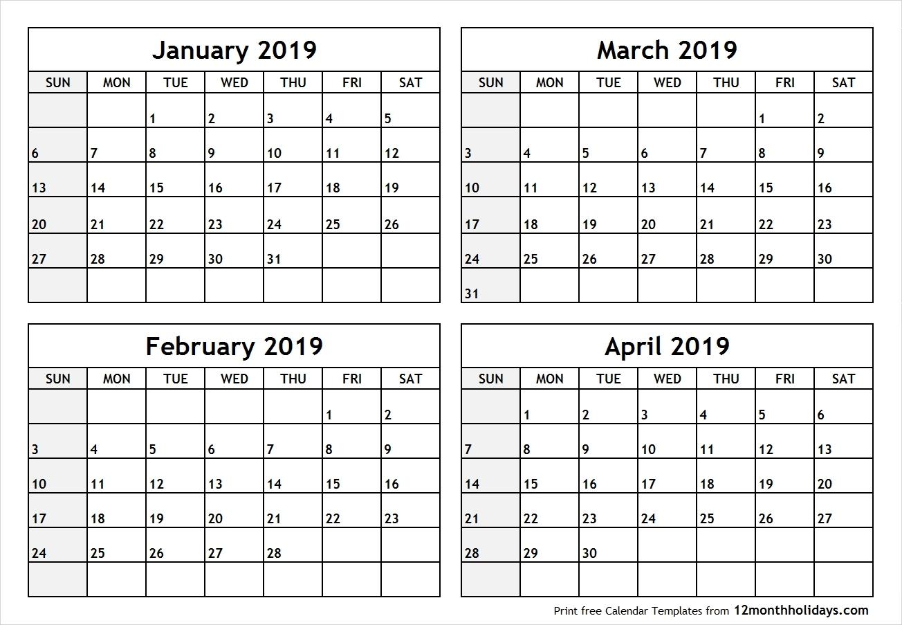 2019 Calendar Printable 4 Month – Template Calendar Design 2019 Calendar 4 Months Per Page