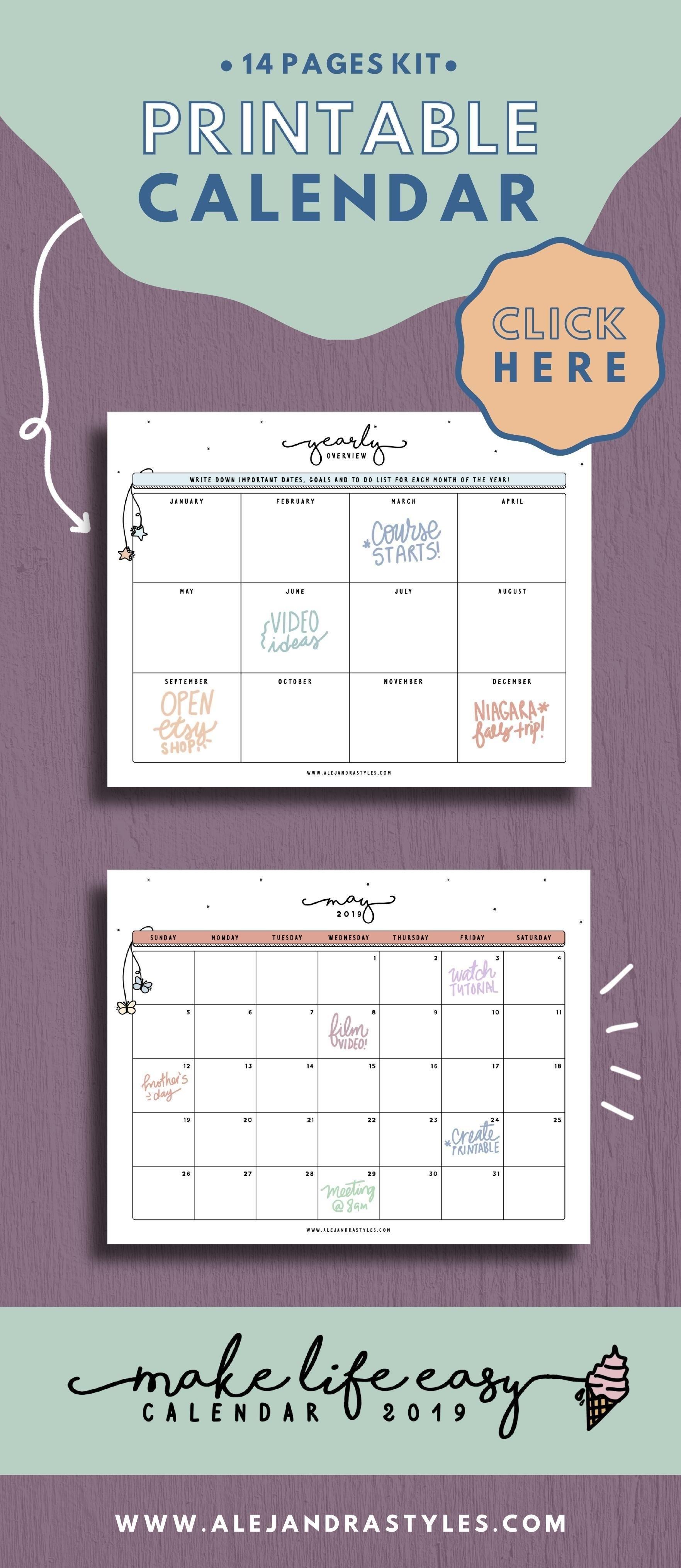 2019 Calendar Printable Planner For Desk Or Wall   Monday And Sunday Busy B Desktop Calendar 2019