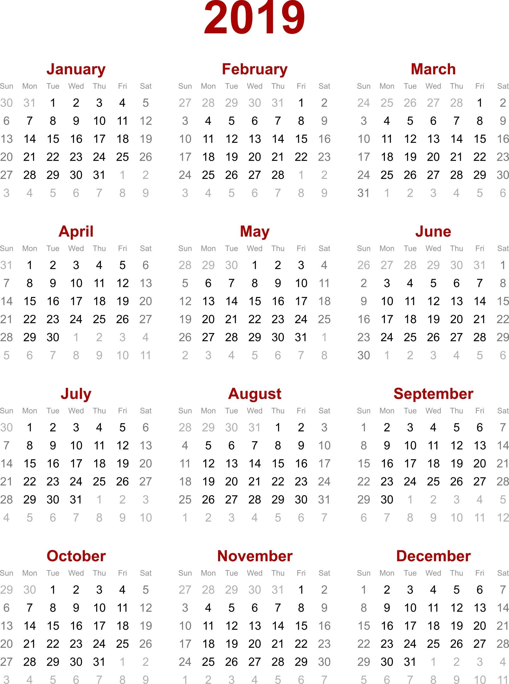 2019 Calendar Printable – Printable Calendar & Birthday Cards Calendar Of 2019