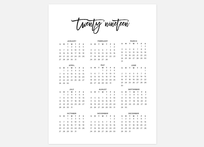 2019 Calendar Simple Calendar 2019 Year Calendar 2019 | Etsy Calendar 2019 Year