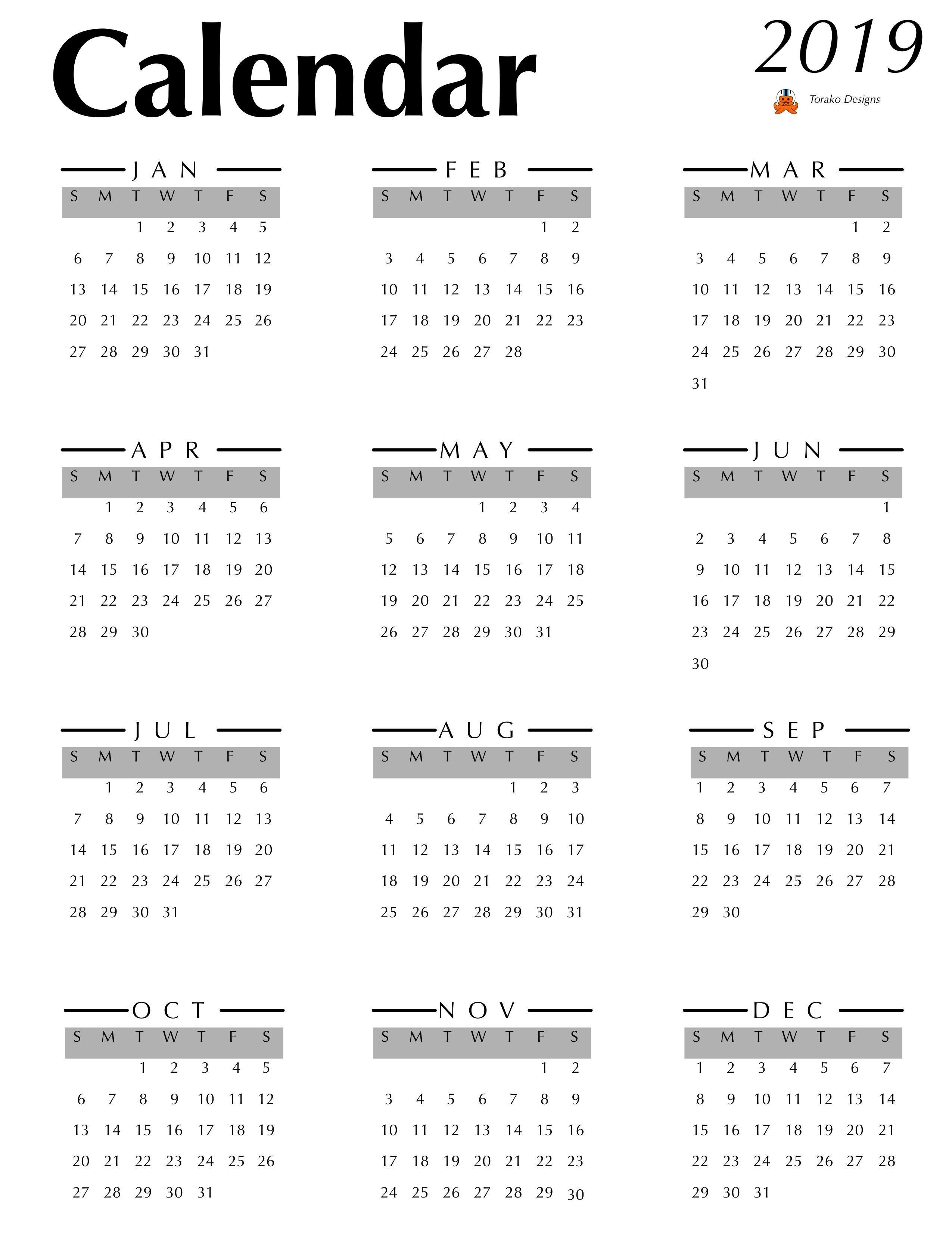 2019 Calendar Spread For Digital Bullet Journal (And/or Free Calendar 2019 Digital