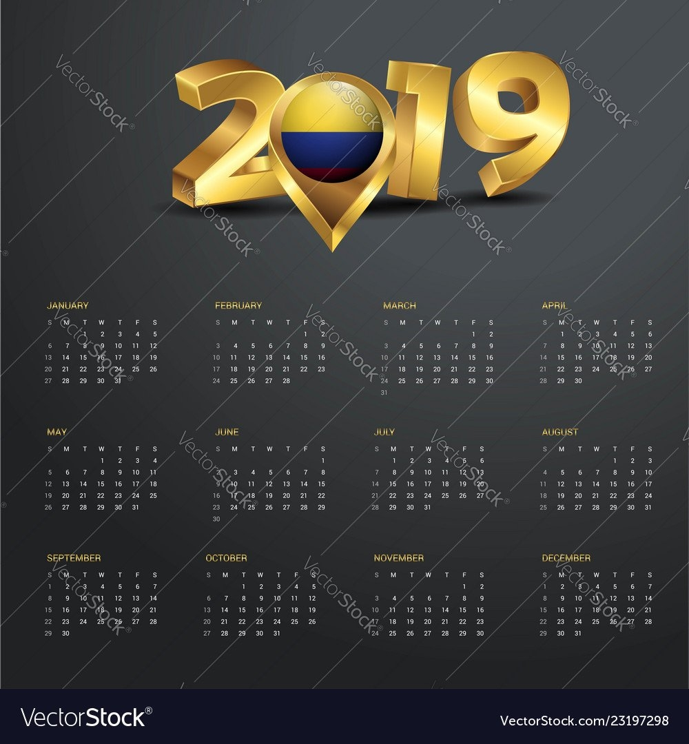 2019 Calendar Template Colombia Country Map Vector Image Calendar 2019 Colombia