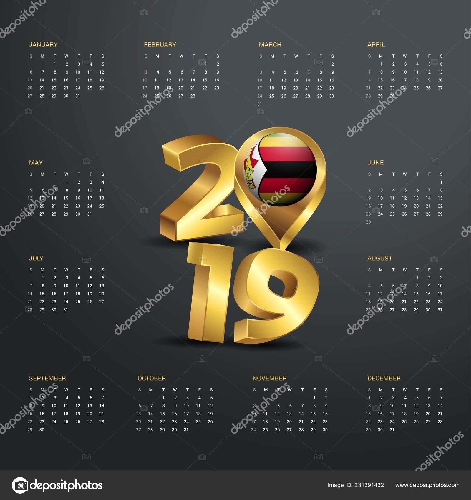 2019 Calendar Template Golden Typography Zimbabwe Country Map Golden Calendar 2019 Zimbabwe