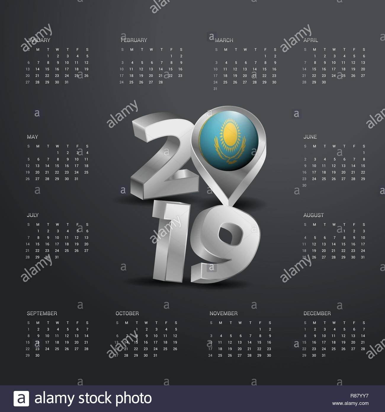 2019 Calendar Template. Grey Typography With Kazakhstan Country Map Calendar 2019 Kazakhstan